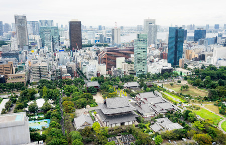dramatic sunrise: Business and culture concept - panoramic modern city skyline bird eye aerial view with zojo-ji temple shrine from tokyo tower under dramatic sunrise and morning blue sky in Tokyo, Japan