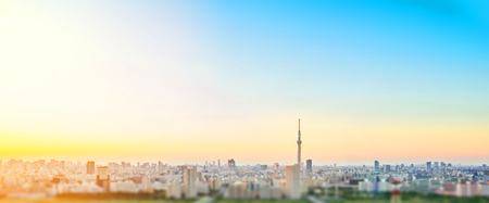 Business and culture concept - panoramic modern city skyline bird eye aerial view with tokyo skytree under dramatic sunset glow and beautiful cloudy sky in Tokyo, Japan. Miniature Tilt-shift effect
