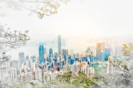 townscape: Asia Business concept for real estate - panoramic modern cityscape building bird eye aerial view under sunrise and morning blue bright sky in Hong Kong (HK), China. Mix hand drawn sketch illustration Stock Photo