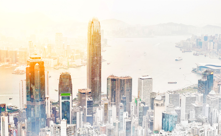Asia Business concept for real estate - panoramic modern cityscape building bird eye aerial view under sunrise and morning blue bright sky in Hong Kong (HK), China. Mix hand drawn sketch illustration Stockfoto