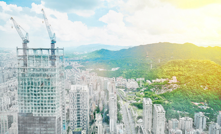 townscape: Asia Business concept for real estate - panoramic modern cityscape building bird eye aerial view under sunrise and morning blue bright sky in Taipei, Taiwan. Mix hand drawn sketch illustration