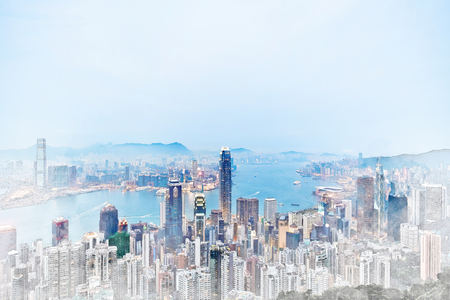 Asia Business concept for real estate - panoramic modern cityscape building bird eye aerial view under sunrise and morning blue bright sky in Hong Kong (HK), China. Mix hand drawn sketch illustration Stock Photo