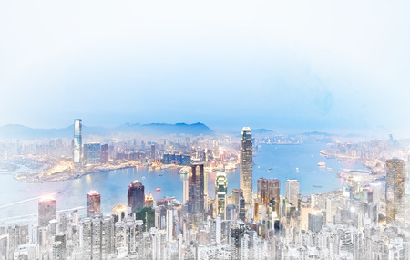 hong kong night: Asia Business concept for real estate - panoramic modern cityscape building bird eye aerial view under sunrise and morning blue bright sky in Hong Kong (HK), China. Mix hand drawn sketch illustration Stock Photo