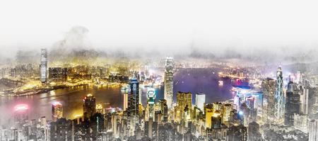 アジア ビジネスの概念の不動産と企業建設 - 鳥の目空中夜景の香港 (香港)、中国の建物パノラマのモダンな街並み。手描きのスケッチ図をミックス