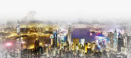 Asia Business concept for real estate and corporate construction - panoramic modern cityscape building bird eye aerial night view in Hong Kong (HK), China. Mix hand drawn sketch illustration