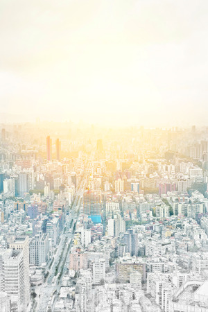 Asia Business concept for real estate - panoramic modern cityscape building bird eye aerial view under sunrise and morning blue bright sky in Taipei, Taiwan. Mix hand drawn sketch illustration