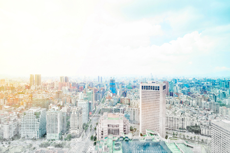 taiwan scenery: Asia Business concept for real estate - panoramic modern cityscape building bird eye aerial view under sunrise and morning blue bright sky in Taipei, Taiwan. Mix hand drawn sketch illustration