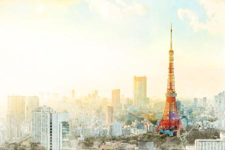 아시아 비즈니스 개념 부동산 - 도쿄 타워, 일본의 랜드 마크 및 파노라마 현대 도시 공중보기 새보기 극적인 일출과 아침 하늘. 믹스 손으로 그린 