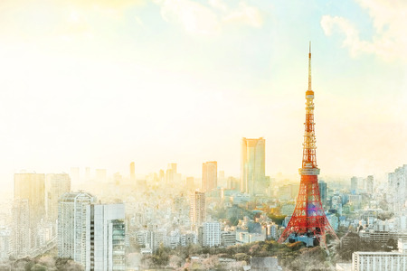 Asia business concept for real estate - Tokyo tower, landmark of Japan, and panoramic modern city bird eye view with dramatic sunrise and morning sky. Mix hand drawn sketch illustration