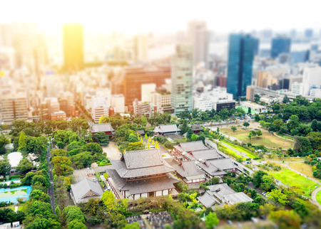 Business and culture concept - panoramic modern city skyline bird eye aerial view with zojo-ji temple shrine from tokyo tower under dramatic sunrise and morning blue sky in Tokyo, Japan. Miniature Tilt-shift effect
