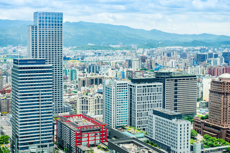 Asia Business concept for real estate and corporate construction - panoramic modern cityscape building bird eye aerial view under sunrise and morning blue bright sky in Taiwan 스톡 콘텐츠