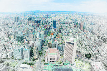 Asia Business concept - panoramic modern cityscape building bird eye aerial view under sunrise and morning blue bright sky, shot form Taipei 101, Taiwan. Mix hand drawn sketch illustration