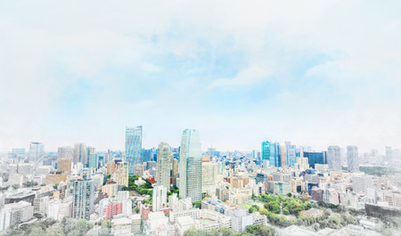 townscape: Asia businessand culture concept - panoramic modern cityscape building bird eye aerial view under dramatic sunny and morning blue cloudy sky in Tokyo, Japan. Mix hand drawn sketch illustration