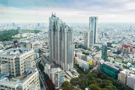 ビジネスと文化の概念-パノラマの現代都市のスカイラインバードアイ空中写真ドラマチックな太陽と朝の青い曇り空の下で東京、日本