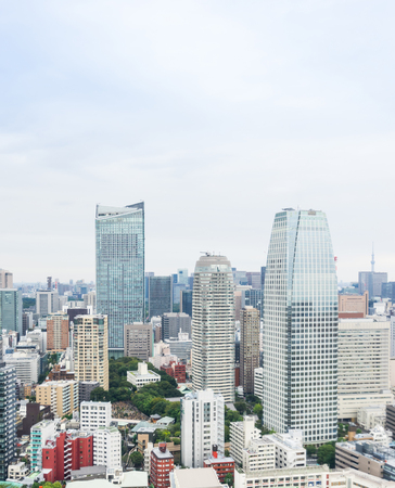 Business and culture concept - panoramic modern city skyline bird eye aerial view from tokyo tower under dramatic morning blue cloudy sky in Tokyo, Japan