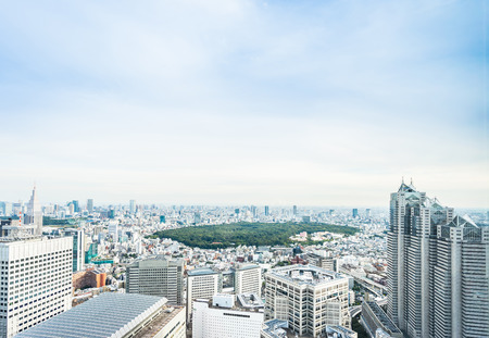 Business and culture concept - panoramic modern city skyline bird eye aerial view of Meiji Shrine under dramatic sun and morning blue cloudy sky in Tokyo, Japan Banque d'images