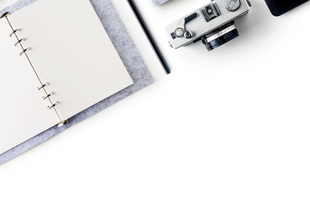 Business concept - Top view of stationery like open notebook, pencil...etc for mockup design isolated on white desktop background Stock Photo