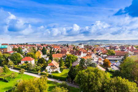 Europe culture concept - panoramic city skyline birds eye aerial view under dramatic sun and morning blue cloudy sky in Rothenburg, Germany