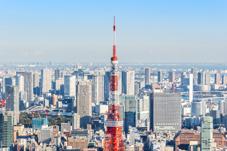 Asia Business concept for real estate and corporate construction - panoramic modern city skyline bird eye aerial view of tokyo tower and odaiba under blue sky in Roppongi Hill, Tokyo, Japan 報道画像
