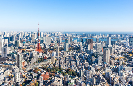 Asia Business concept for real estate and corporate construction - panoramic modern city skyline bird eye aerial view of tokyo tower and odaiba under blue sky in Roppongi Hill, Tokyo, Japan Stockfoto