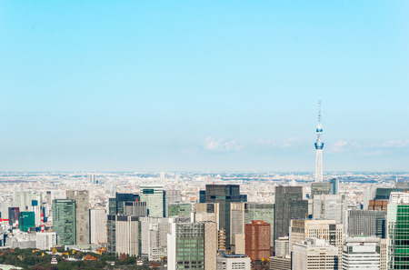 Asia Business concept for real estate and corporate construction - panoramic modern city skyline bird eye aerial view under blue sky in Roppongi Hill, Tokyo, Japan