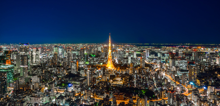 Asia Business concept for real estate & corporate construction - panoramic modern city skyline of Tokyo Tower and Tokyo Metropolitan Expressway junction with neon night in Roppongi Hill, Tokyo, Japan Stockfoto