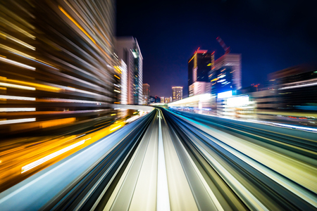Business concept - high speed abstract MRT track of motion light for background in tokyo, japan 스톡 콘텐츠