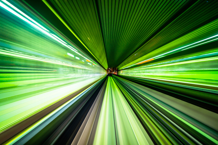 Business concept - high speed abstract MRT track of motion light for background in tokyo, japan Foto de archivo