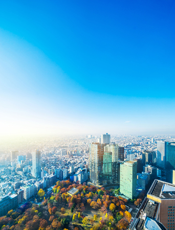 Asia Business concept for real estate and corporate construction - panoramic modern city skyline aerial view of Shinjuku area under blue sky in Tokyo, Japan Foto de archivo