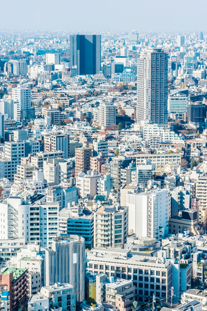 Asia Business concept for real estate and corporate construction - panoramic modern city skyline aerial view of tokyo under blue sky in Tokyo, Japan Editorial