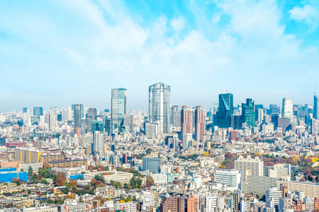 Asia Business concept for real estate and corporate construction - panoramic modern city skyline aerial view of Roppongi hill under blue sky in Tokyo, Japan