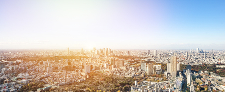Asia Business concept for real estate and corporate construction - panoramic modern city skyline bird eye aerial view of Shinjuku & Shibuya under blue sky in Roppongi Hill, Tokyo, Japan