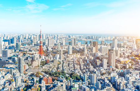Asia Business concept for real estate and corporate construction - panoramic modern city skyline bird eye aerial view of tokyo tower and odaiba under blue sky in Roppongi Hill, Tokyo, Japan Editorial