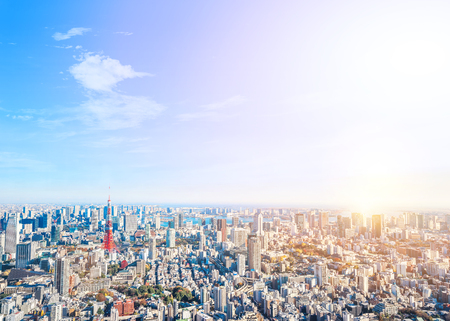 Asia Business concept for real estate and corporate construction - panoramic modern city skyline bird eye aerial view of tokyo tower and odaiba under golden sun in Roppongi Hill, Tokyo, Japan