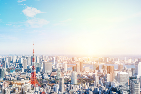 Asia Business concept for real estate and corporate construction - panoramic modern city skyline bird eye aerial view of tokyo and odaiba under blue sky in Roppongi Hill, Tokyo, Japan