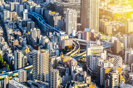 Asia Business concept for real estate and corporate construction - panoramic modern city skyline bird eye aerial view of Odaiba & Tokyo Metropolitan Expressway junction in Roppongi Hill, Tokyo, Japan 写真素材