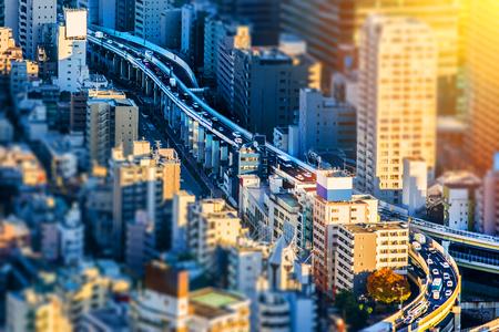 Asia Business concept for real estate and corporate construction - Tokyo Metropolitan Expressway junction in Roppongi Hill, Tokyo, Japan. Miniature Tilt-shift effect Reklamní fotografie