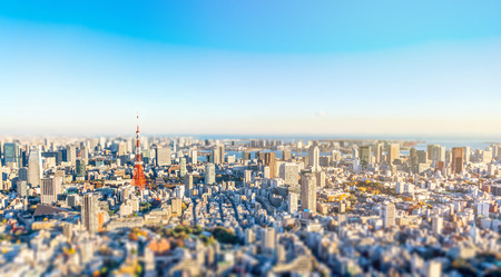 Asia Business concept for real estate and corporate construction - panoramic modern city skyline bird eye aerial view of tokyo tower in Roppongi Hill, Tokyo, Japan. Miniature Tilt-shift effect Editorial