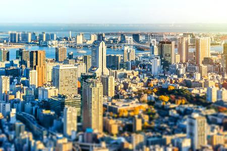 Panoramic modern city skyline bird eye aerial view of tokyo and odaiba Stock Photo