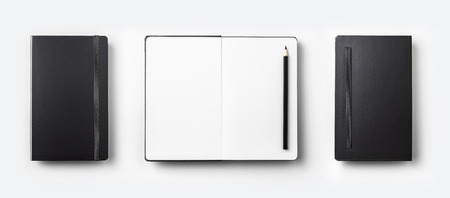 Business concept - Top view collection of black fly black notebook front, back and white open page isolated on background for mockup