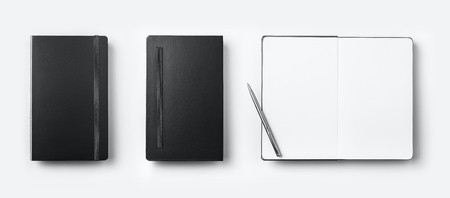 Business concept - Top view collection of black fly black notebook front, back and white open page, ballpoint pen isolated on background for mockup Stock Photo