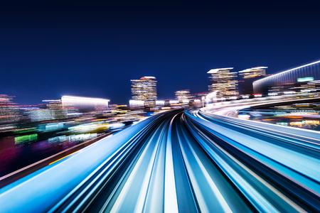 ビジネスコンセプト - 東京の背景のためのモーションライトの高速抽象MRTトラック 写真素材