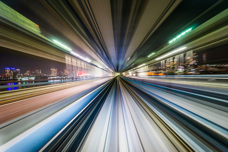 Business concept - high speed abstract MRT track of motion light for background in tokyo, japan Stock Photo