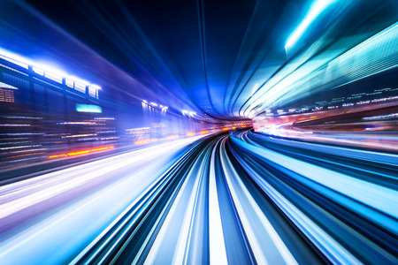 Business concept - high speed abstract MRT track of motion light for background in tokyo, japan Stok Fotoğraf
