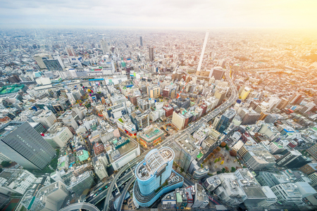 Asia business concept for real estate and corporate construction - panoramic modern city skyline aerial view of Ikebukuro and expressway in tokyo, Japan