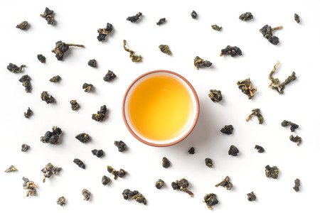 Asia culture and design concept - fresh taiwan oolong tea in teacup