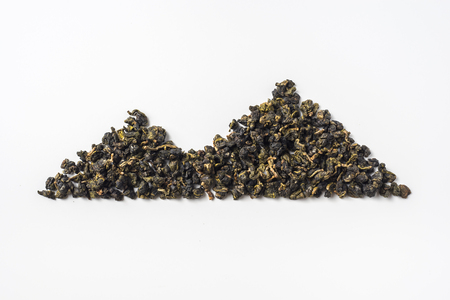 Asia culture and design concept - fresh taiwan oolong tea dry bud layout like mountain