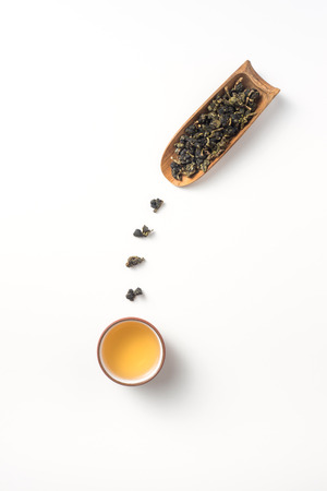 Asia culture and design concept - fresh taiwan oolong tea and teapot