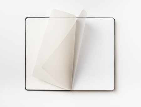 Business concept - Top view collection of black hardcover notebook, white open and flip curl rolled page  isolated on white background