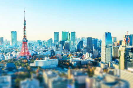 Asia business concept for real estate and corporate construction - panoramic city skyline aerial view with tokyo tower under blue sky  and sun in Tokyo, Japan with tilt shift, miniature, blur effect 版權商用圖片 - 113930675